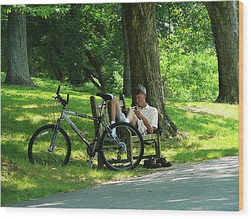 Relaxing After The Ride Wood Print by Susan Savad