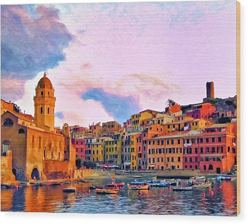 Relaxing Around Vernazza Wood Print by Michael Pickett