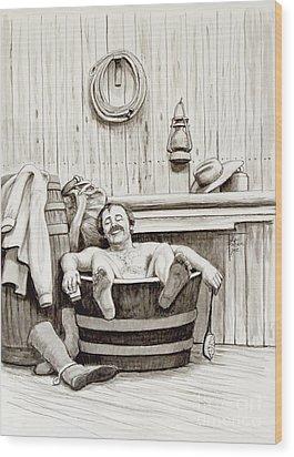 Relaxing Bath - 1890's Wood Print