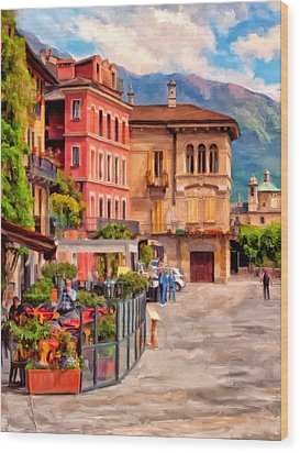 Relaxing In Baveno Wood Print by Michael Pickett