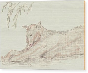 Relaxing Panther Wood Print by Rosalie Scanlon