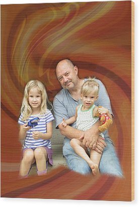 Relaxing With The Grandchildren Wood Print by Kevin Caudill