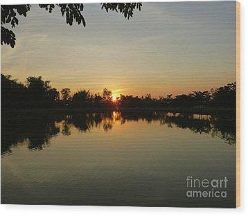 Reflections At Dusk Wood Print