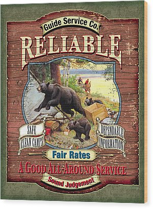 Reliable Guide Service Sign Wood Print by JQ Licensing