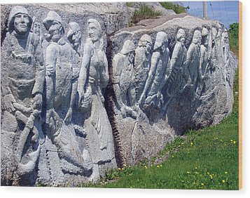 Relief Sculpture At Peggy's Cove Wood Print by Brenda Anne Foskett