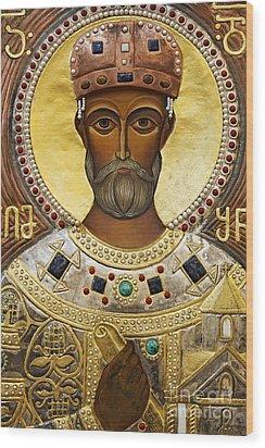 Religious Art Inside The Tsminda Sameba Cathedral Tbilisi Wood Print by Robert Preston