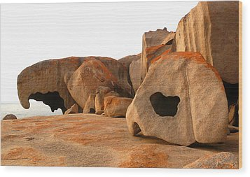 Remarkable Rocks Wood Print by Evelyn Tambour