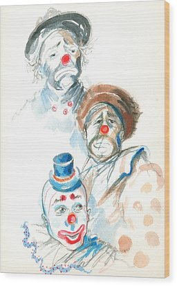 Remember The Clowns Wood Print by Mary Armstrong