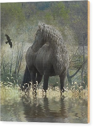 Remme And The Crow Wood Print by Fran J Scott