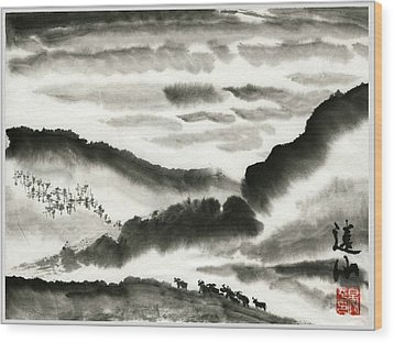 Wood Print featuring the painting Remote Mountains by Ping Yan