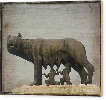Remus And Romulus Wood Print by Bernard Jaubert