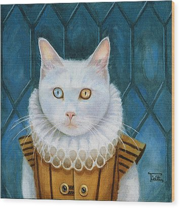 Wood Print featuring the painting Renaissance Cat by Terry Webb Harshman