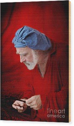 Renaissance Music Man Wood Print by Ellen Cotton