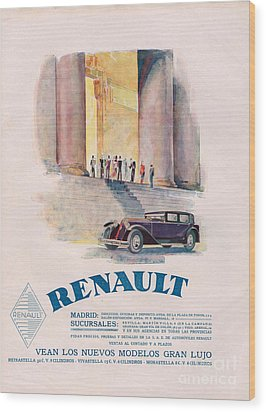 Renault 1930 1930s Usa Cc Cars Wood Print by The Advertising Archives