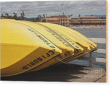 Rental Boats On The Municipal Wharf At Santa Cruz Beach Boardwalk California 5d23795 Wood Print by Wingsdomain Art and Photography