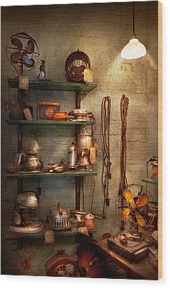 Repair - In The Corner Of A Repair Shop Wood Print by Mike Savad