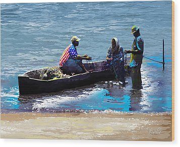 Wood Print featuring the painting Repairing The Net At Lake Victoria by Anthony Mwangi