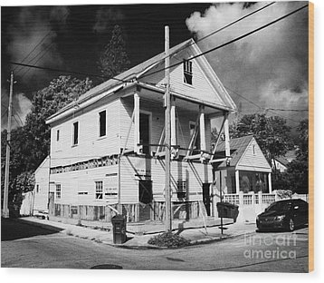 Repairs To Traditional Two Storey Wooden House In The Old Town Of Key West Florida Usa Wood Print by Joe Fox