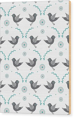 Repeat Lovebird Wood Print by Susan Claire