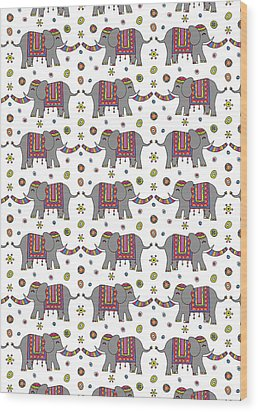 Repeat Print - Indian Elephant Wood Print by Susan Claire