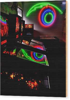 Replicant Arcade Wood Print by Benjamin Yeager