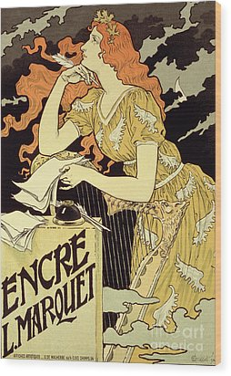 Reproduction Of A Poster Advertising 'marquet Ink' Wood Print by Eugene Grasset