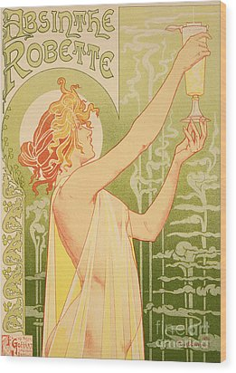 Reproduction Of A Poster Advertising 'robette Absinthe' Wood Print by Livemont