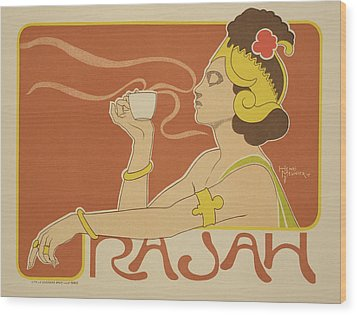 Reproduction Of A Poster Advertising The 'cafe Rajah' Wood Print by Henri Georges Jean Isidore