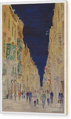 Republic Street Valletta Malta Wood Print