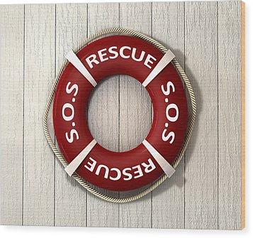 Rescue Lifebuoy Wood Print by Allan Swart