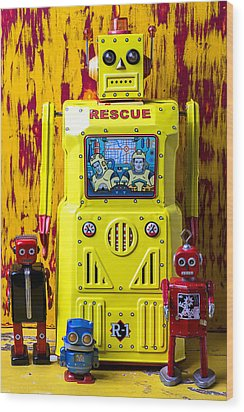 Rescue Robot Wood Print by Garry Gay
