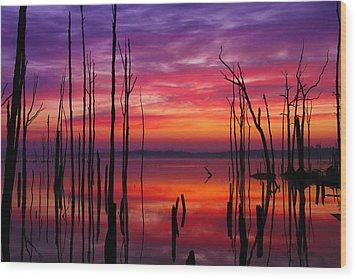 Reservoir At Sunrise Wood Print