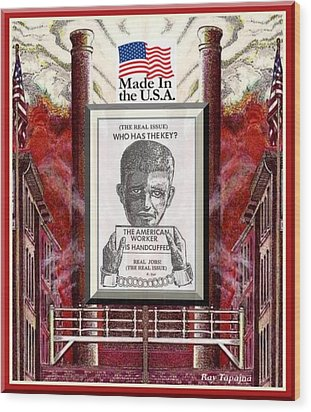 Wood Print featuring the digital art Reshoring The American Dream by Ray Tapajna