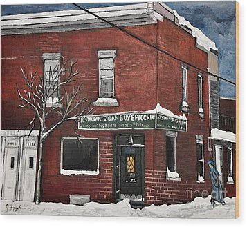 Restaurant Jean Guy  Pte. St. Charles Wood Print by Reb Frost