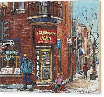 Restaurant John Wood Print by Carole Spandau