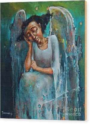 Resting Angel Wood Print by Michal Kwarciak