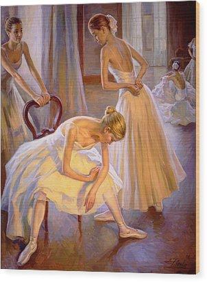 Resting Dancers Wood Print
