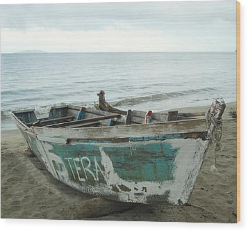 Resting Fishing Boat Wood Print by Jocelyn Friis