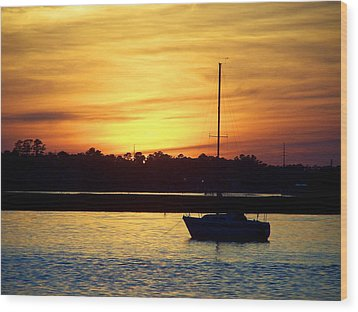 Wood Print featuring the photograph Resting In A Mango Sunset by Sandi OReilly