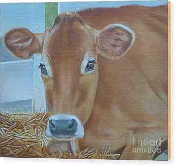 Wood Print featuring the painting Resting Jersey Mom by K L Kingston