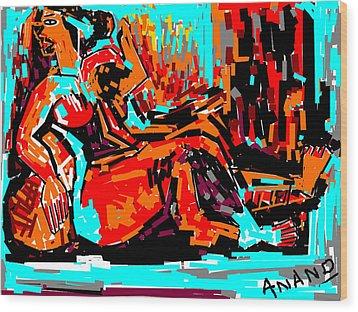 Resting Lady Wood Print by Anand Swaroop Manchiraju