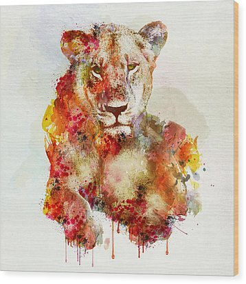 Resting Lioness In Watercolor Wood Print