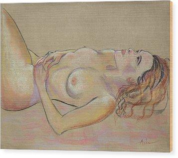 Resting Woman Looking Upward And Inward Wood Print by Asha Carolyn Young