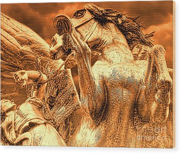 Wood Print featuring the photograph Restraining Pegasus by Nigel Fletcher-Jones