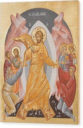 Resurrection Of Christ Wood Print by Julia Bridget Hayes
