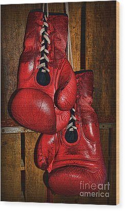 Retired Boxing Gloves Wood Print by Paul Ward