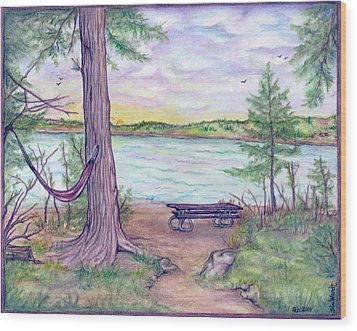 Retreat By The Lake Wood Print by Jan Wendt
