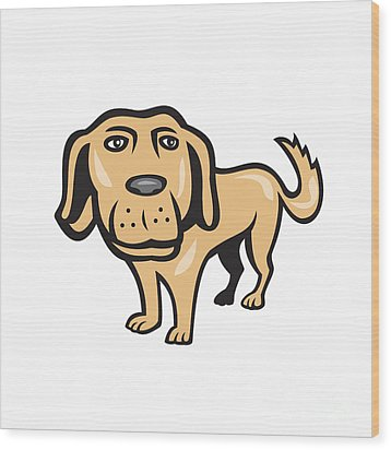 Retriever Dog Big Head Isolated Cartoon Wood Print by Aloysius Patrimonio