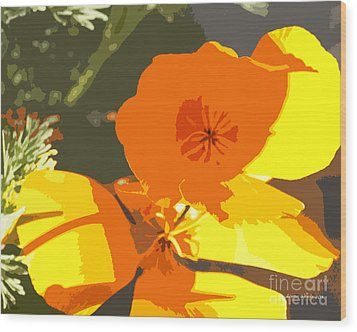 Retro Abstract Poppies Wood Print by Artist and Photographer Laura Wrede