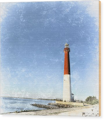 Retro Barnegat Lighthouse Barnegat Light New Jersey Wood Print by Marianne Campolongo